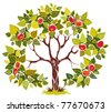 Abstract tree apple isolated on white background. The vector art illustration - stock photo