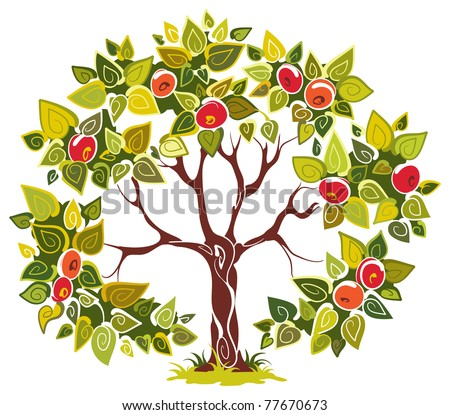 Abstract tree apple isolated on white background. The vector art illustration - stock vector