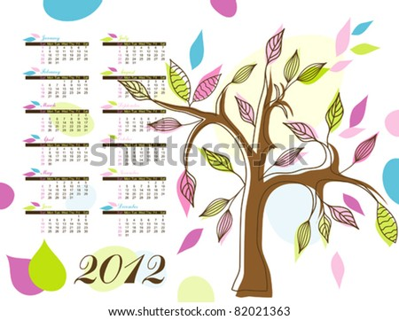 Abstract tree calendar 2012, illustration vector - stock vector