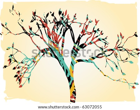 Abstract tree filled with retro colors vector illustration - stock vector