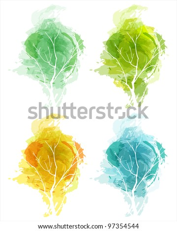 Abstract tree in four seasons. eps10 - stock vector