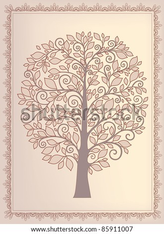 abstract tree in vintage style