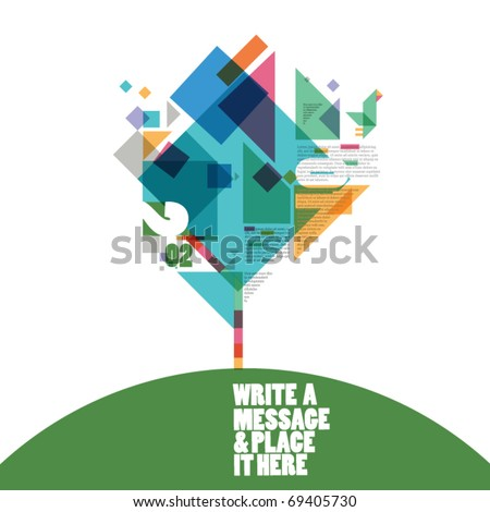 abstract tree - made from geometric shapes - stock vector