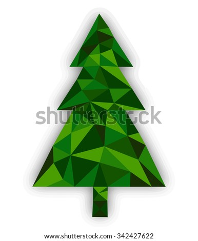 Abstract tree made from polygons - stock vector
