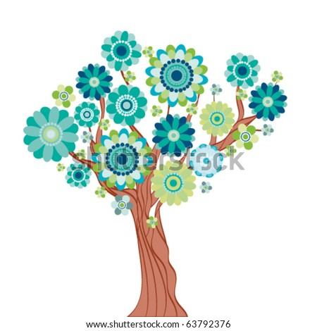 Abstract tree made of flowers. Vector illustration - stock vector