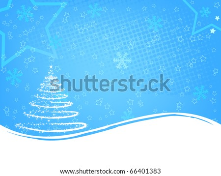 Abstract tree on the light blue background - stock vector