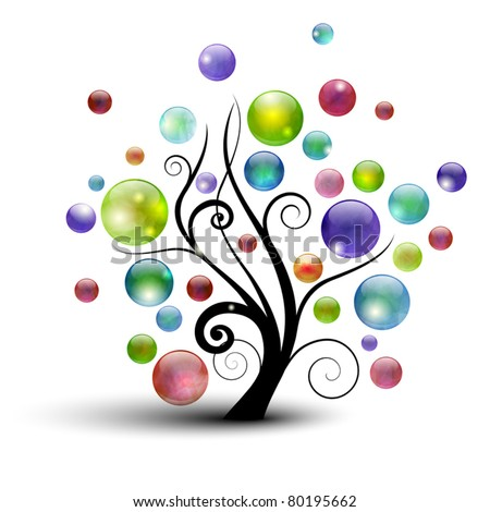 Abstract tree silhouette with colorful bubbles - stock vector