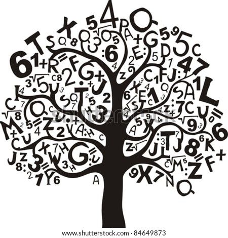 Abstract tree with black letters and numbers isolated on White background. Vector illustration - stock vector