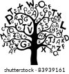 Abstract tree with black letters isolated on White background. Vector illustration - stock photo