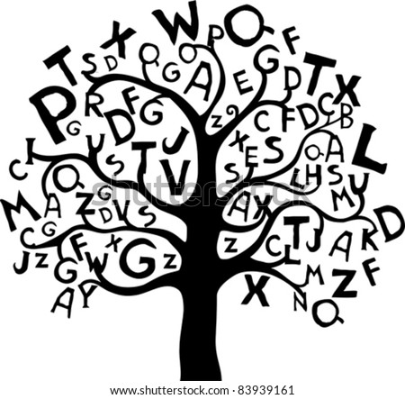 Abstract tree with black letters isolated on White background. Vector illustration - stock vector