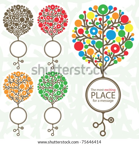 Abstract tree with circle for text message in 5 variations