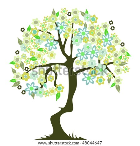 abstract tree with flowers - stock vector