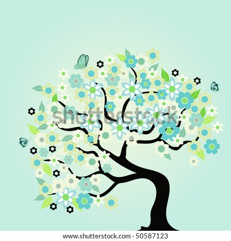 abstract tree with flowers and space for a text - stock vector