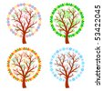 Abstract trees - four seasons - stock vector
