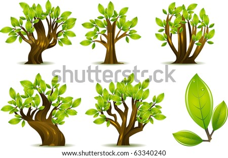 Abstract Trees isolated on white./A collection of 5 different trees isolated on white. Separated into layers for easy editing! - stock vector