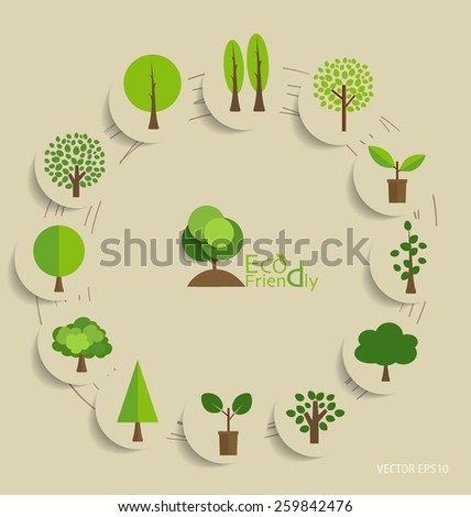 Abstract trees. Vector illustration.  - stock vector