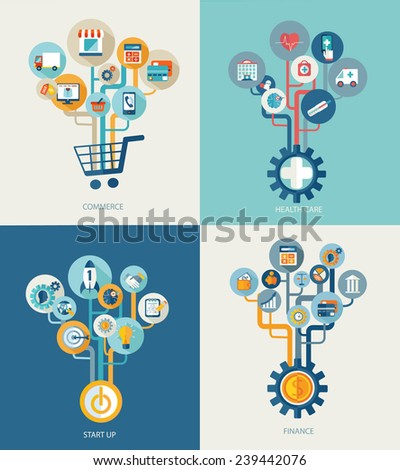 Abstract trees with icons for web design, Vector web design concept start up, commerce, finance, medical concept - icons and sign in flat style. - stock vector