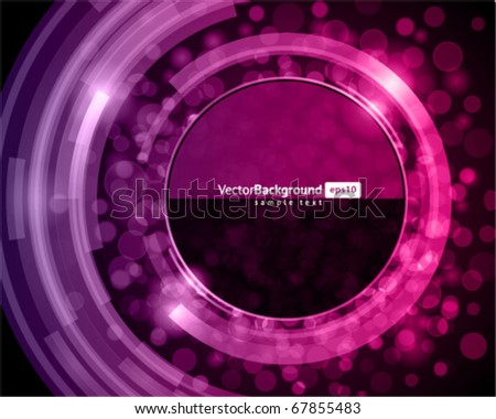 Abstract trendy retro technology glass shiny circles with bokeh vector background