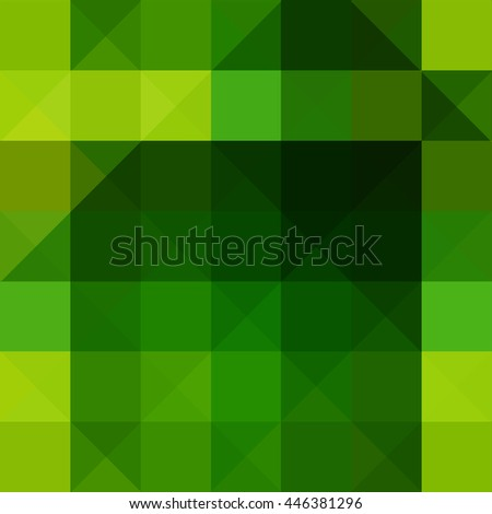 Abstract triangle and rectangle shape light to dark green color mosaic background - stock vector