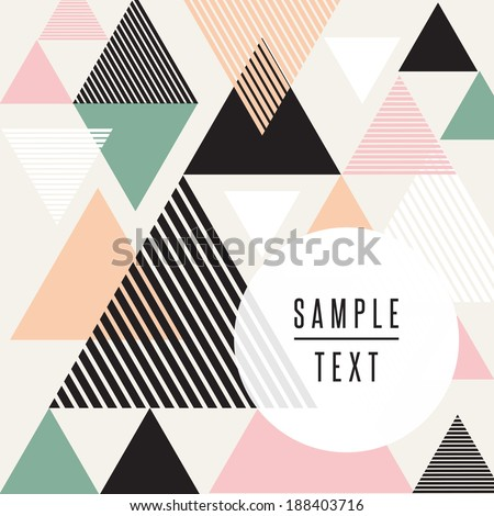 Abstract triangle design with text - stock vector