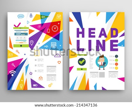 Abstract Triangle Geometric Vector Brochure Template. Flyer Layout. Flat Style. Infographic Elements. Tablet PC. Mobile Technology - stock vector