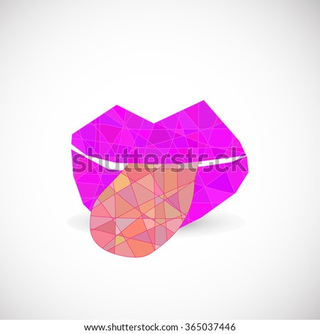 abstract triangle lips - stock vector