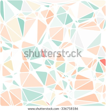 Abstract Triangle Polygonal Geometrical Background, Vector Illustration EPS10. Geometric design frame for business presentations, flyers, banners, brochures, leaflets, web. Pale pink, orange, green - stock vector
