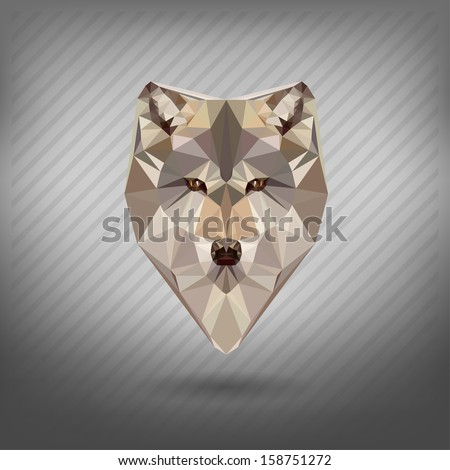 abstract  triangle polygonal wolf snout origami animal style - stock vector