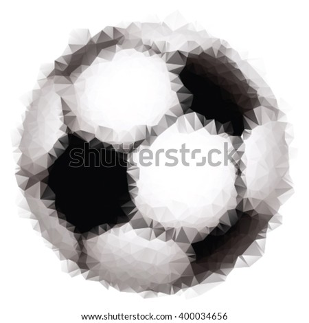 Abstract triangle soccer ball on white isolated background - stock vector