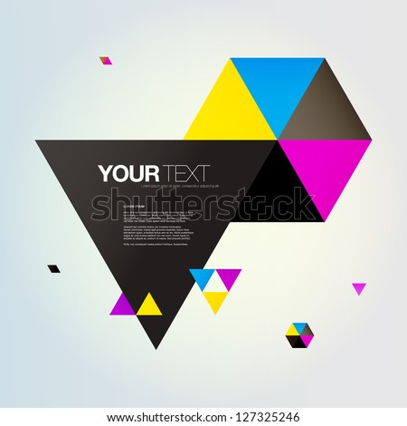 Abstract triangles text box design vector - stock vector