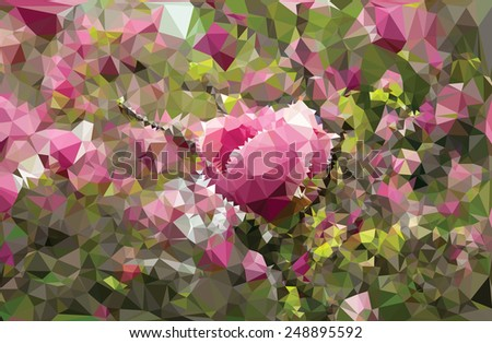 Abstract triangular pink flowers with a heart in front - stock vector