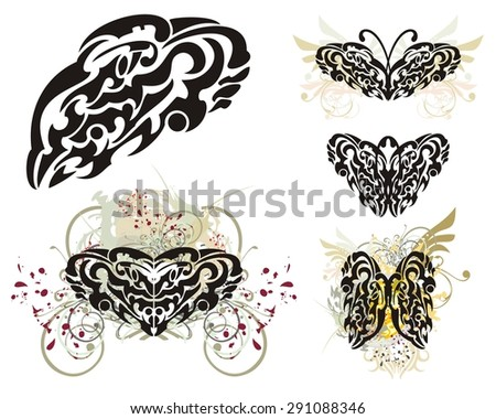 Abstract tribal butterflies wings splashes. Grunge  butterflies wings splashes with floral elements and blood drops and tribal butterflies tattoos - stock vector