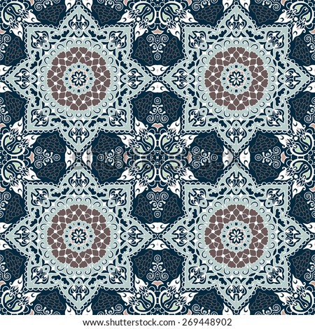 Abstract Tribal vintage ethnic paisley ornament. Seamless pattern can be used for wallpaper, pattern fills, web page background,surface textures - stock vector.   - stock vector