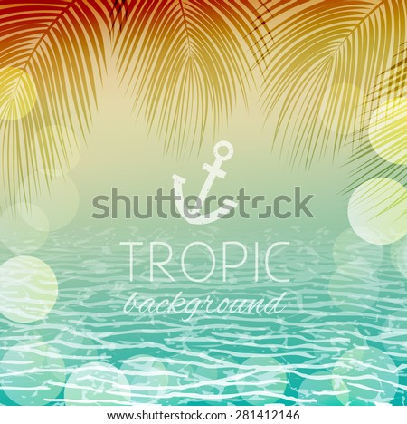 abstract tropical landscape sunrise or sunset coast of the sea with a palm tree and bokeh - stock vector