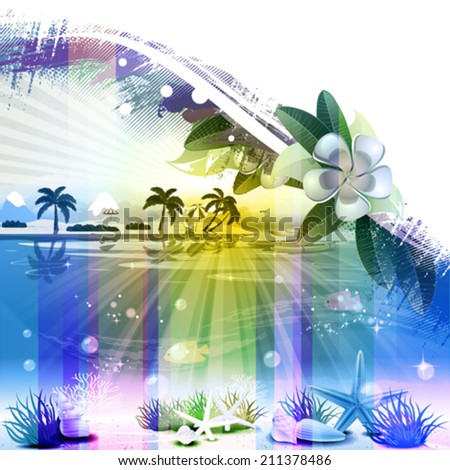 Abstract Tropical scene with floral and text place - stock vector