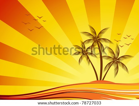 Abstract tropical sunset with island and palms vector - stock vector