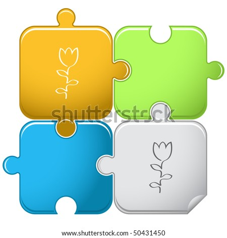 Abstract tulip. Vector puzzle. - stock vector