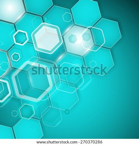 Abstract turquoise background hexagon. Vector illustration. Clip-art