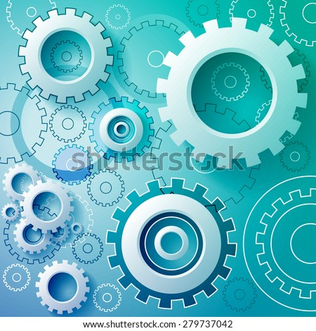 Abstract turquoise background with mechanical gears.  - stock vector
