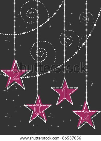 abstract twinkle star, artwork background with decorated hanging star for happy new year 2012 - stock vector