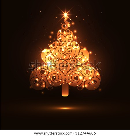 and Glowing Fir Tree on Dark Brown Background Panorama - Christmas ...