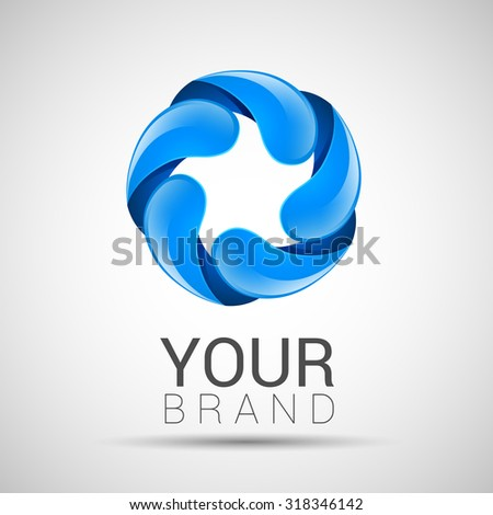 Abstract twisted water drops logo template corporate identity. - stock vector