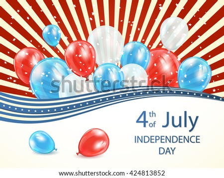 Abstract USA Independence day background 4 of july with lines, stars and colored balloons, illustration.