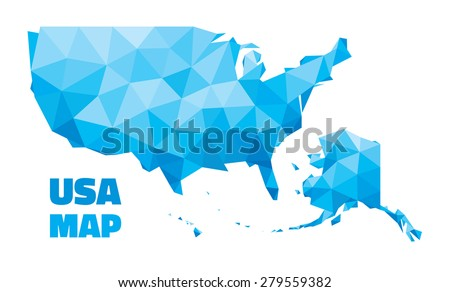 Abstract USA Map - vector illustration - geometric structure in blue color for presentation, booklet, website and other design projects. United States of America - abstract vector map.  - stock vector