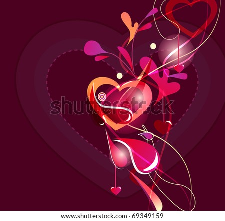 Abstract valentine background with heart - stock vector
