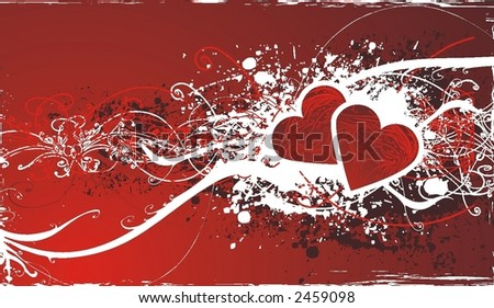abstract valentines day design ,vector illustration ,floral elements & grunge frame - stock vector
