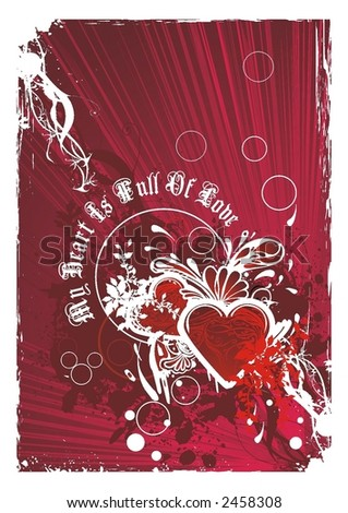 abstract valentines design vector illustration floral & grunge elements - stock vector
