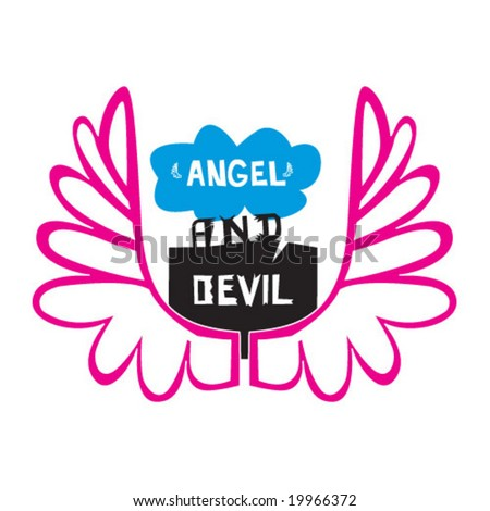 abstract vector angel and devil symbols - stock vector