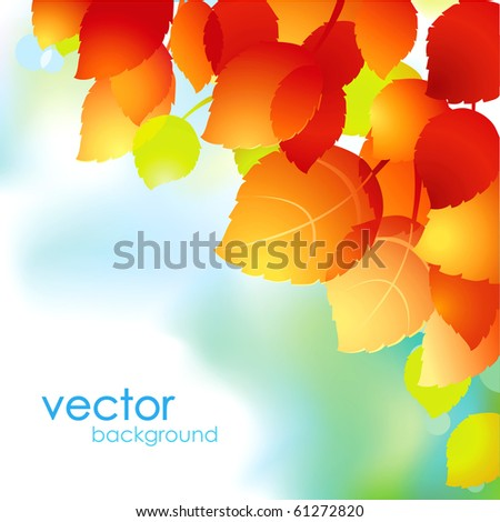 Abstract vector autumn leaves floral background. - stock vector