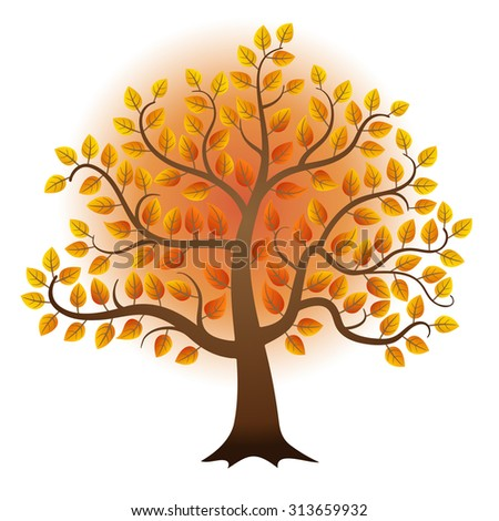 Abstract vector autumn tree isolated on white background